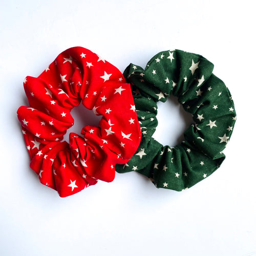 Red Festive Stars Scrunchie