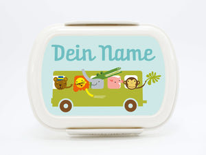 "Brotdose Deluxe ""Bus"" in red or green, with name - PetitePeople"