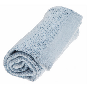 BABY BLANKET SOFT GRID, WINTER AND BLOOM, LIGHT BLUE, 100 X 75 CM - PetitePeople