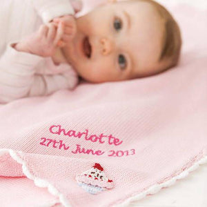 Personalised Knitted Cupcake Pram Blanket - PetitePeople