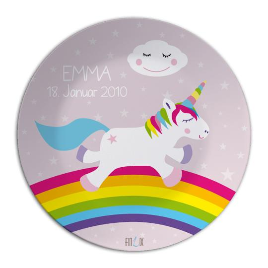 Unicorn tableware set with name - PetitePeople