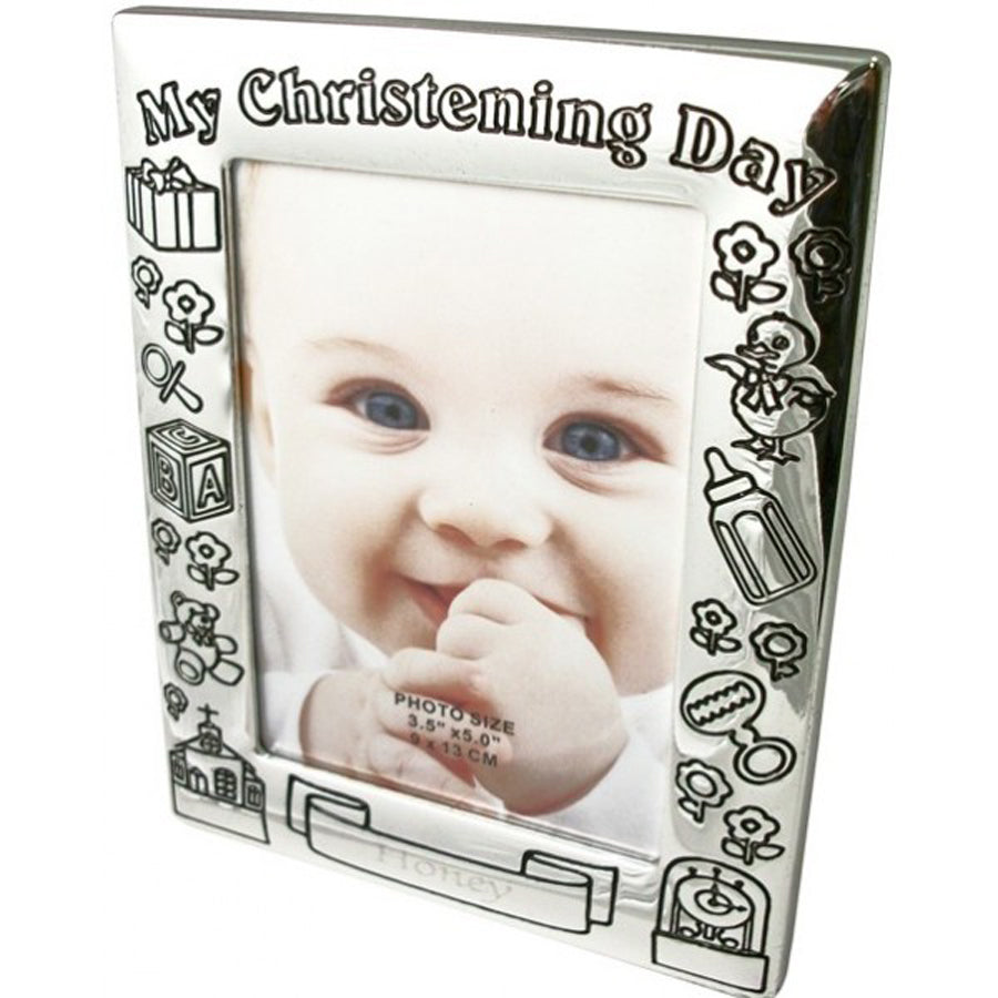 Personalized Silver Plated Christening Frame
