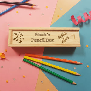 Back to School Wooden Box with Sliding Lid & 12 Pencils - PetitePeople