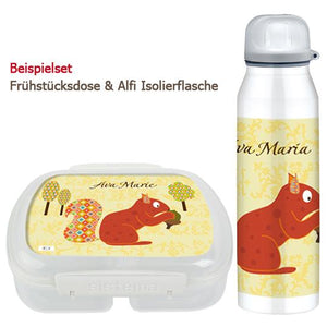 School set can and bottle of floral squirrel - PetitePeople