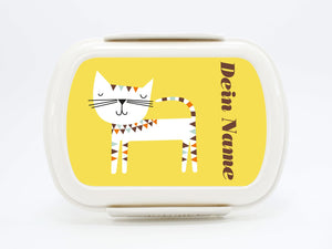 "Brotdose Deluxe ""Cat"" in pink, yellow or blue, with name - PetitePeople"