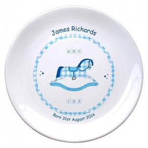 "Personalised Blue Rocking Horse 8"" Bone China Coupe Plate - PetitePeople"