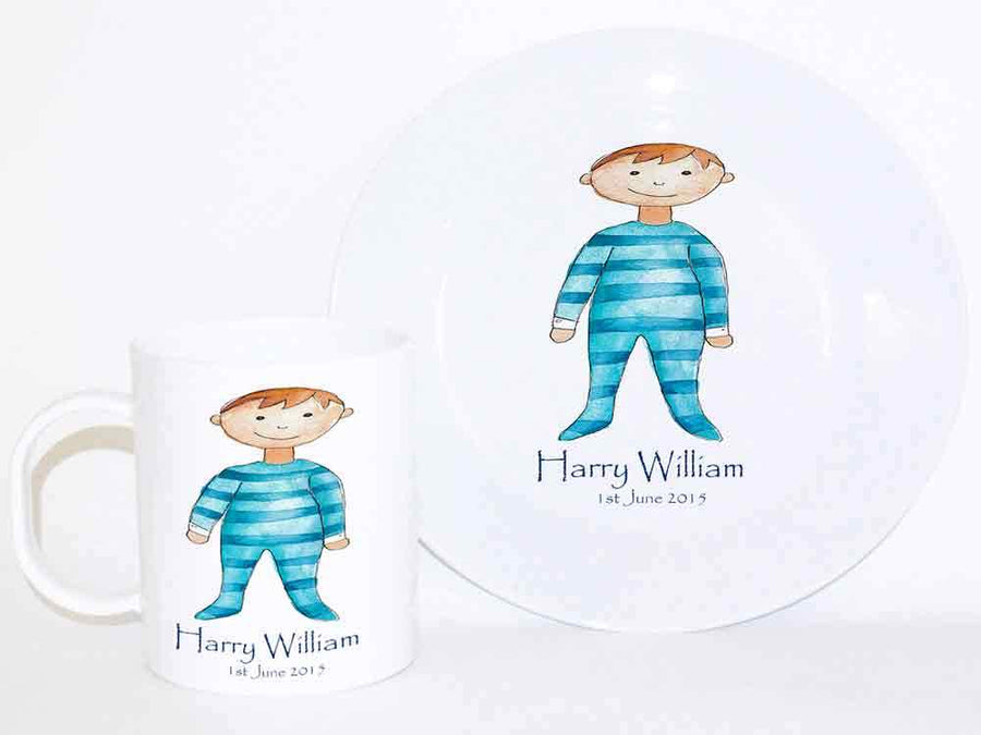 Personalised Cup & Dinner Set, Baby Boy