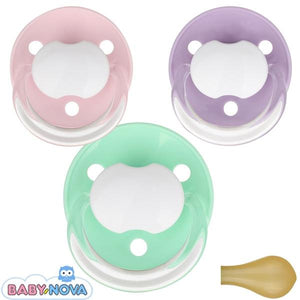 Baby Nova pacifiers with name Round Latex One-Size. 3 in pack - PetitePeople