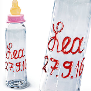 Personalied baby glass bottle with name and birthday