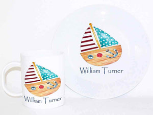 Personalised Cup & Dinner Set, Boat