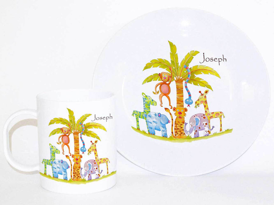Personalised Cup & Dinner Set, Jungle Fun