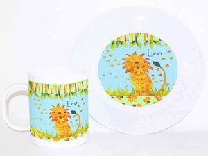 Personalised Cup & Dinner Set, Lion