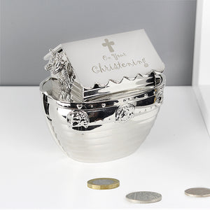 Piggy Bank Silver plated Noah's Ark