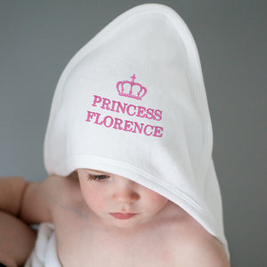 Personalised Pink Princess White Hooded Towel