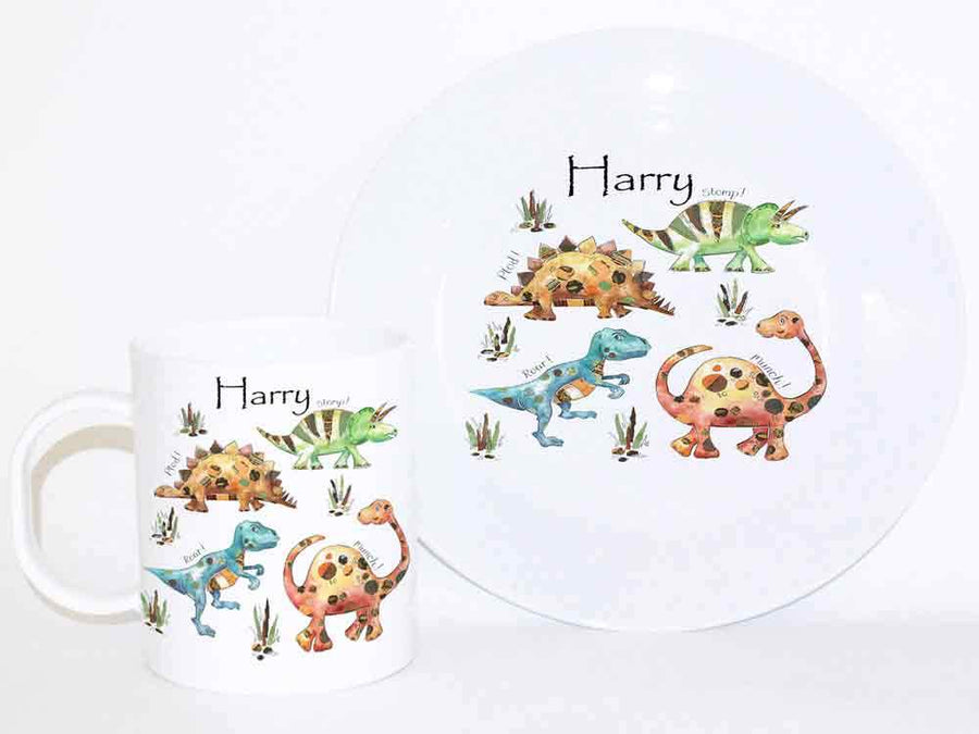 Personalised Cup & Dinner Set, Dinosaur