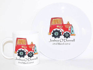 Personalised Cup & Dinner Set, Tractor