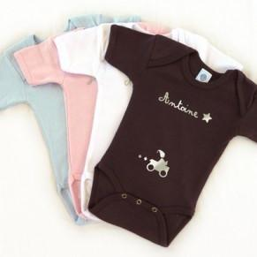 Personalised Short-sleeved Bodysuit - Baby Blue - PetitePeople