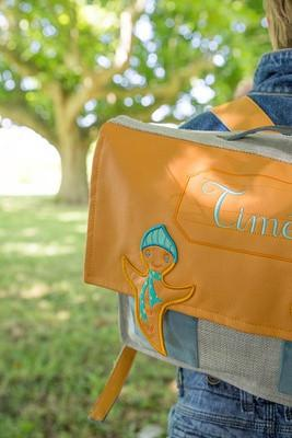 Personalised school satchel in orange colours - PetitePeople