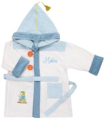 Personalized Playful Dog Bathrobe Ecru 2/4 years - PetitePeople