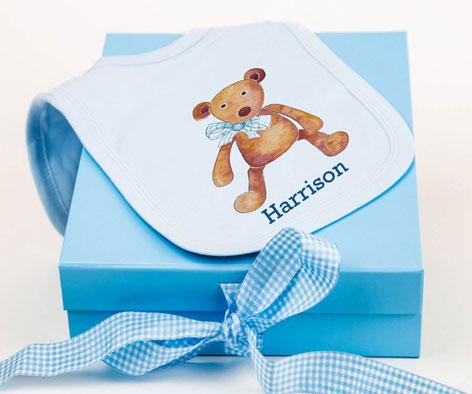 Blue Bear Bib & Keepsake Box