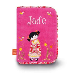 Personalized Embroidered Health Book Cover Japanese Girl - PetitePeople