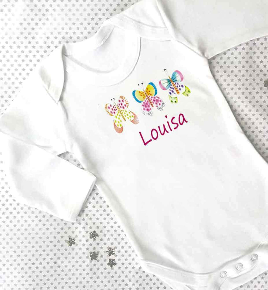 Personalised Baby Grow, Butterfly garden
