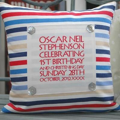 Personalised Red & Blue Stripe Keepsake Cushion - PetitePeople