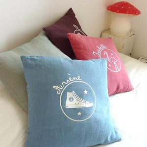 Personalized Linen Cushion Peacock Blue - PetitePeople