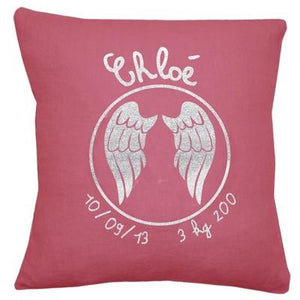 Personalized Linen Cushion Pink Hibiscus - PetitePeople