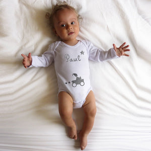 Personalised Short-sleeved Bodysuit - White