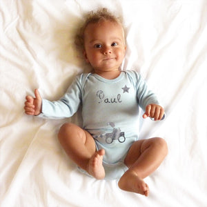 Personalised Short-sleeved Bodysuit - Baby Blue