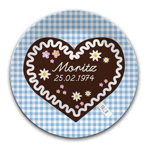 Personalised plate with honey heart cake - PetitePeople