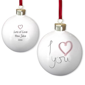 I Heart U Bauble Bone China Bauble - PetitePeople