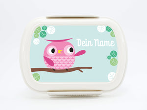 "Brotdose Deluxe ""Owl"" in pink or blue, with name - PetitePeople"