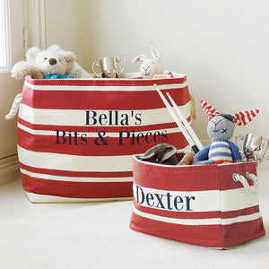 Large Rectangular Red & Cream Stripe Storage Tub
