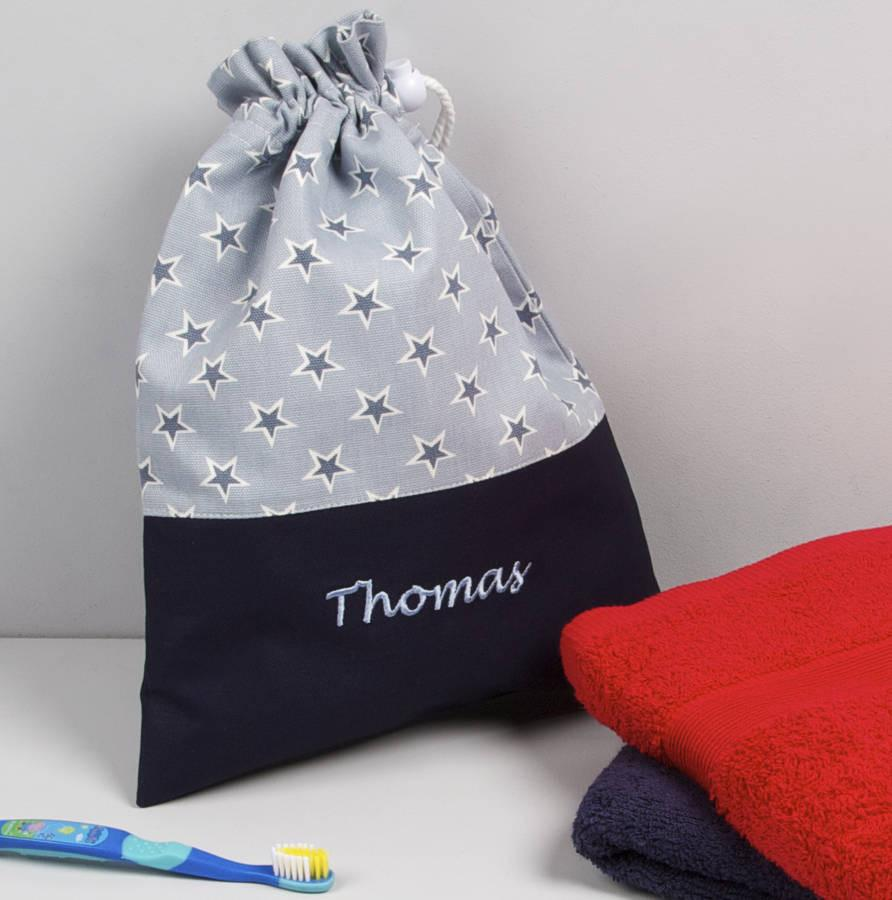 Boy's Personalised Blue Star Wash Bag - PetitePeople