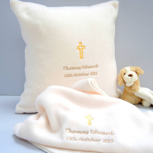 Personalised Cream Fleece Christening Blanket