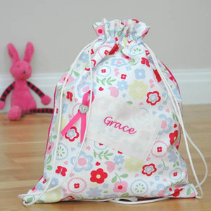 Girls Personalised Kit Bag Embroidered Tag - PetitePeople
