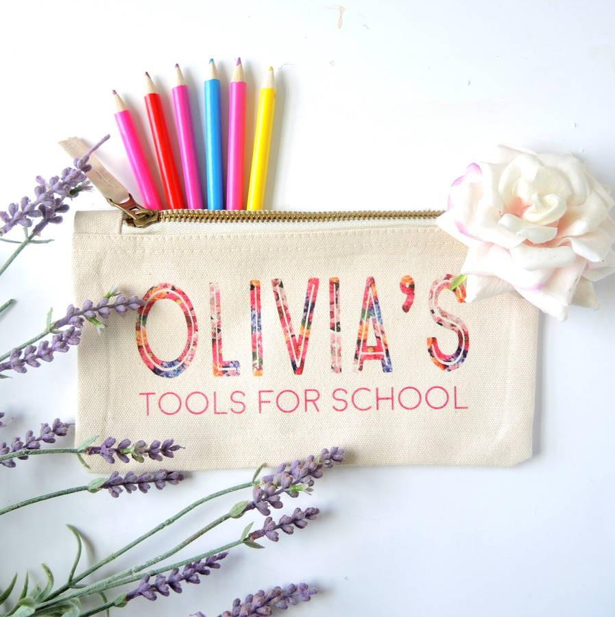 Personalised Tools For School Pencil Case Floral - PetitePeople