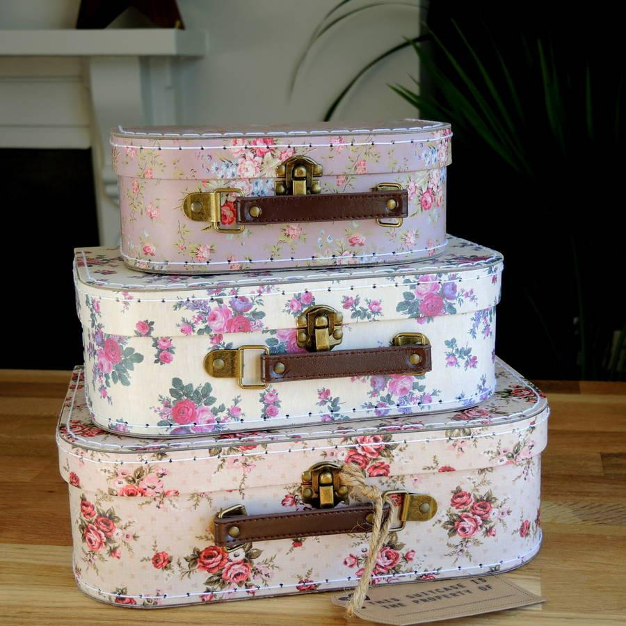 Vintage Rose Suitcase Set Of Three - PetitePeople