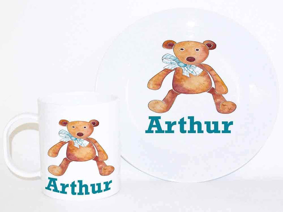 Personalised Cup & Dinner Set, Blue Bear