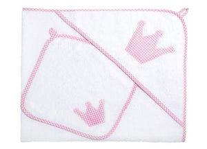 Personalised Baby Hooded Towel XL Set (Pink Gingham) - PetitePeople, Towel[product_tag]