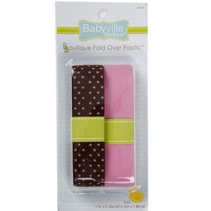 Plastic Fold Over Elastic: Brown w/ Dots and Solid Pink