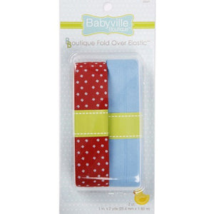 Fold Over Elastic: Red w/ Dots and Solid Blue