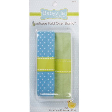 Fold Over Elastic: Blue w/ Dots and Solid Green