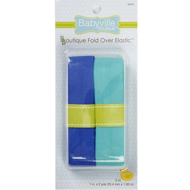 Fold Over Elastic: Solid Blue & Solid Turquoise