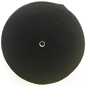 "100% Cotton Plush Elastic, 1.5"" x 25M (Black or White)"