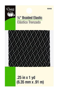 Braided Elastic in Black w/ White & Grey Zig-Zag Pattern - Asst'd Sizes