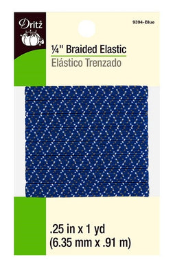 Braided Elastic in Blue w/ White & Grey Zig-Zag Pattern - Asst'd Sizes