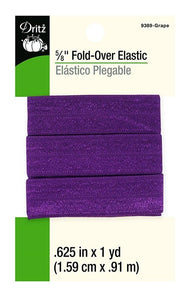 Fold-Over Elastic in Grape - 5/8""